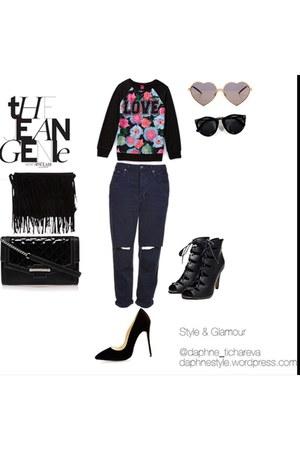 black denim Topshop jeans
