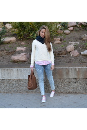 denim Zara jeans - BLANCO sweater