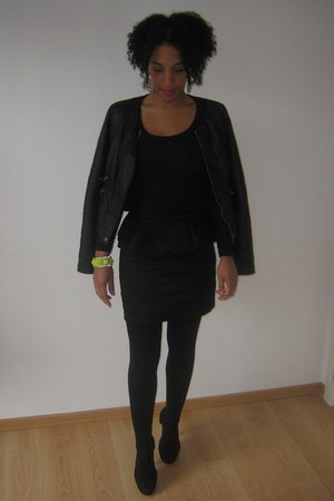 peplum H&M skirt - leather Pimkie jacket - H&M t-shirt - H&M heels