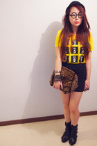 yellow gmarket t-shirt - black rubi boots - DIY bag - black supre skirt