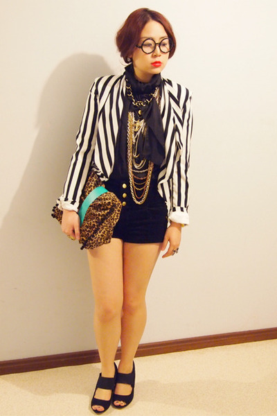 H&M blazer - DIY bag - black high-waisted supre shorts - black asos wedges