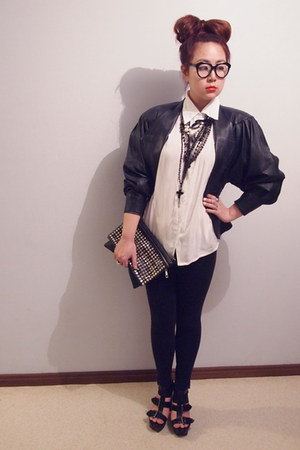 black thrifted jacket - black supre leggings - bag - white blouse