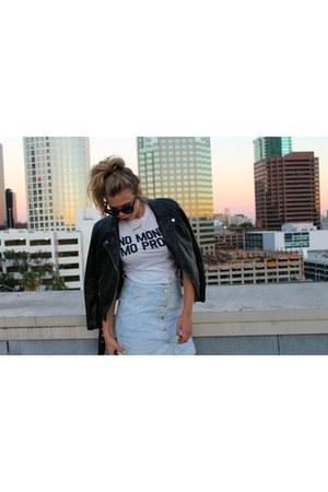 leather H&M jacket - vintage skirt - Jawbreaking t-shirt