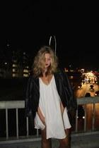 leather H&M jacket - silk Donna Mizani dress - minimalist Soda Pop heels
