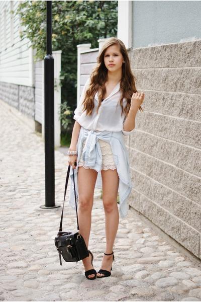 black tracyeinny bag - white Zara shorts - black Bianco heels
