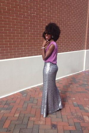 silver skirt - brown brown shades Ray Ban sunglasses