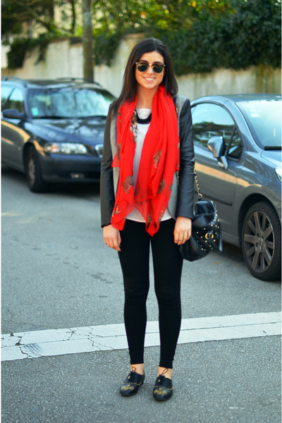 red Zara scarf - black studs Zara shoes - black Zara leggings