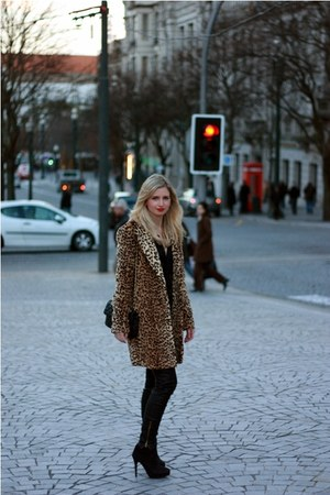 leopard Mango coat - Zara boots - leather Zara pants - Mango blouse
