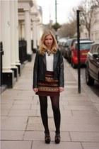 black leather jacket Oasis jacket - beige Zara sweater