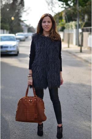 Zara vest - Dolce & Gabbana boots - H&M leggings - Yves Saint Laurent bag