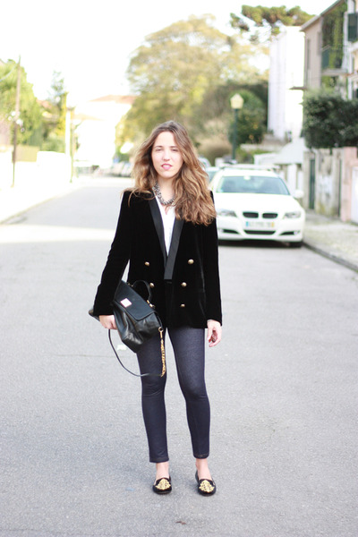 velvet Zara blazer - HOBO leggings - studs Zara bag - Zara loafers