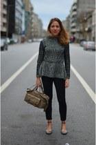 black Zara sweater - tan liz claiborne bag - black Zara pants