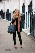 brown faux fur Zara vest - black Zara blazer - black Primark shirt