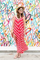 red maxi dress asos dress - tan straw hat Nordstrom hat