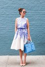 Violet-floral-dress-donna-morgan-dress-blue-satchel-yves-saint-laurent-bag