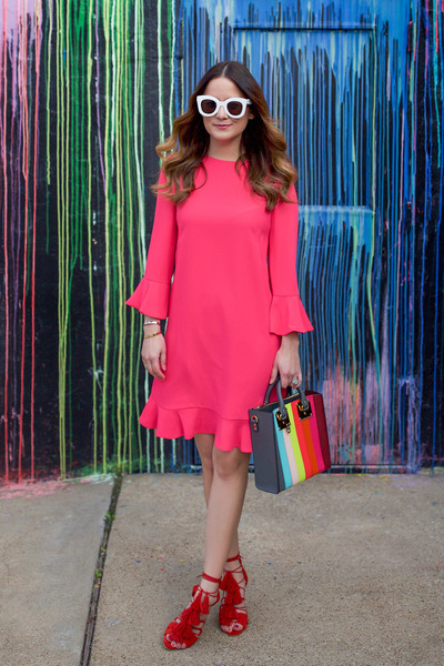 red tassels loeffler randall shoes - hot pink ruffled kate spade dress
