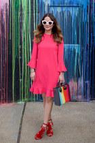 red tassels loeffler randall shoes - hot pink ruffled kate spade dress