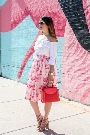 light pink flamingo print Party Skirts skirt - red color block kate spade bag