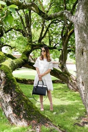 lace KAS dress - satchel kate spade bag - aviator ray-ban sunglasses