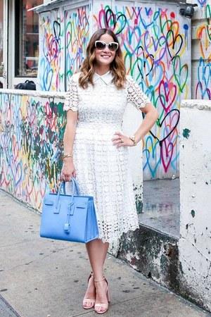 white lace Chicwish dress - blue satchel Yves Saint Laurent bag