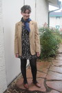 Navy-scarf-tan-thrifted-blazer-black-h-m-dress-black-stockings-brown-gra