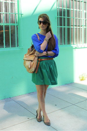 Zara skirt - Zara shirt - 49 sq mi bag - Aldo flats - Gold &amp; Citrus earrings