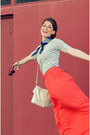 White-jcrew-shirt-blue-vintage-scarf-white-kate-spade-bag-chanel-loafers-