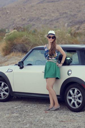 Zara skirt - JCrew hat - Aqua shirt - Steve Madden loafers