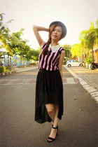 black maxi skirt - black hat - top - black Zara sandals