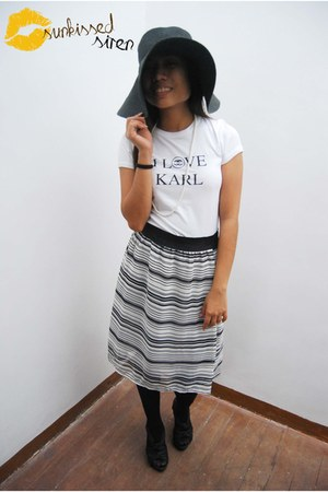 i love karl shirt - floppy hat hat - striped LMDV skirt - Forever 21 heels