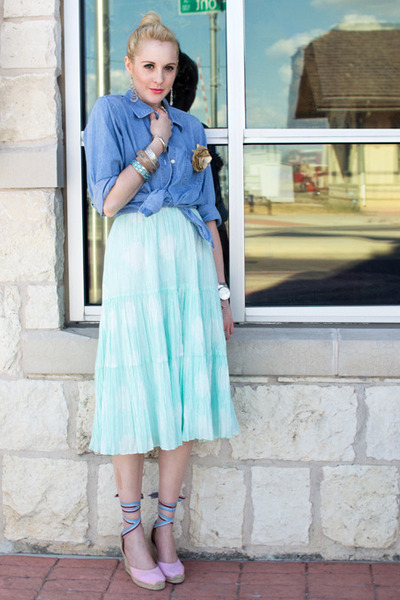 aquamarine sun dress Gap dress - sky blue denim shirt thrifted blouse