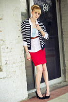 red pencil skirt to the maxx skirt - navy striped thrifted cardigan - white thri