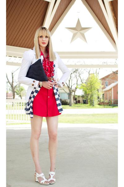 navy denim clutch self-made bag - red shirtdress self-made dress