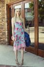 Blue-denim-thrifted-shirt-sky-blue-floral-print-express-dress