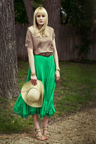 green maxi Wet Seal skirt - light brown Forever 21 t-shirt