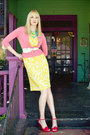 Yellow-tropical-print-vintage-dress-red-unknown-heels-coral-express-cardigan