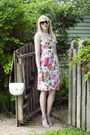 Pink-floral-print-unknown-dress-white-vintage-bag-gucci-bag