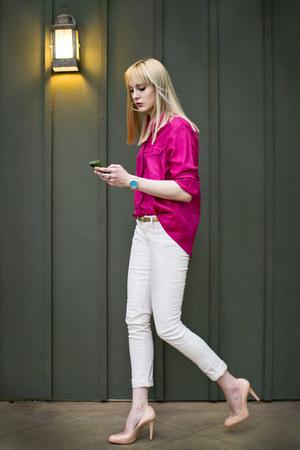 nude pumps BCBG heels - light pink skinny Tommy Hilfiger jeans