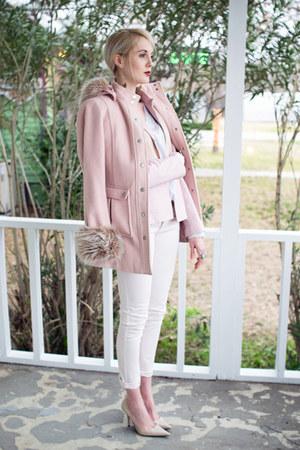 light pink skinny jeans Tommy Hilfiger jeans - light pink fur trim Express coat