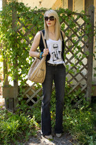 white tank Karl Lagerfeld for Macys shirt - dark gray flared Express jeans