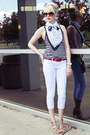 White-skinny-cropped-unknown-jeans-navy-polka-dots-thrifted-scarf
