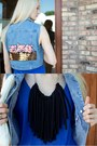 Light-blue-denim-vintage-vest-black-striped-pencil-forever-21-skirt