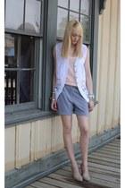 silver slouchy DIY shorts - white lace vintage vest - peach tank unknown t-shirt