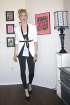 Express leggings - thrifted blazer - sequin bow tank Miley Cyrus top - Target ca
