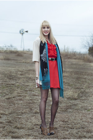 red ruffled vintage dress - teal pashmina unknown scarf - eggshell unknown cardi