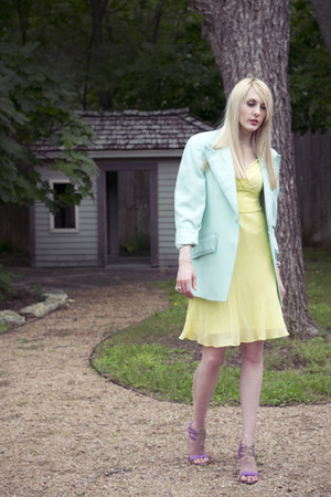 teal mint green vintage blazer - light yellow chiffon Express dress