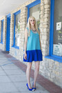 Turquoise-blue-drop-waist-diy-dress-blue-cap-toe-diy-pumps