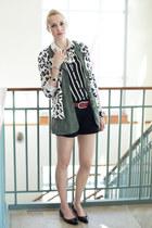 white leopard print Walmart cardigan - black cuffed Old Navy shorts