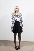 white leopard unknown cardigan - white unknown t-shirt - black full Mossimo skir