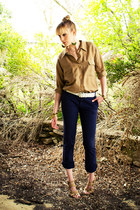 dark khaki silk thrifted blouse - navy skinny Marc Jacobs pants - camel suede Ca